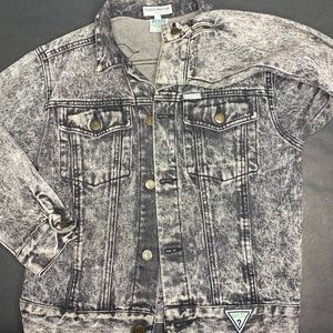 Guess Jean Jacket Stonewashed Black and White